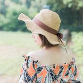 夏天荷葉邊草帽女小清新夏百搭沙灘帽海邊度假可折疊帽子防曬遮陽  新年下殺