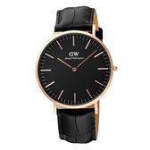 DW Daniel Wellington Classic Black 經典皮帶錶-DW00100129/40mm