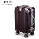 LETTi 時尚樂譜 18吋避震輪編織紋鋁框行李箱(暗紅配金)