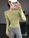 瑜伽服 運動上衣女高彈顯瘦緊身瑜伽服速干t恤網紅跑步健身房長袖春款【快速出貨八折下殺】