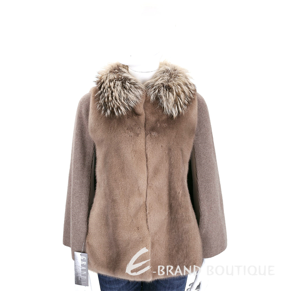 GRANDI furs 咖啡色拼接斗篷皮草外套(70%WOOL) 1710172-07