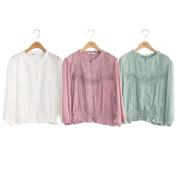 春裝上市[H2O]可當外套上衣兩穿蕾絲裝飾下襬鬆緊帶雪紡楊柳上衣 - 綠/白/粉色 #9685003