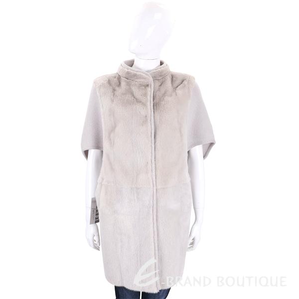 GRANDI furs 淺灰色拼接皮草五分袖外套 1710170-06