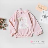 純棉 甜美蕾絲B泡泡袖條紋上衣 童裝 長袖上衣 粉色 棉質 韓版 女童裝 秋冬 薄長袖