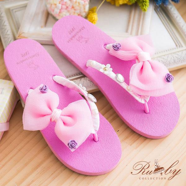 鞋子 立體蝴蝶結花朵水鑽綴飾夾腳拖鞋-Ruby s露比午茶