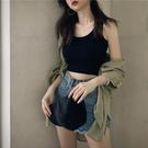 女背心 港味短款內搭打底無袖吊帶上衣女春夏黑色泫雅外穿緊身露臍小背心【快速出貨八折特惠】