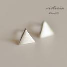 S925純銀 浪漫風格 素雅幾何三角形耳...