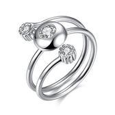 925純銀鑲鑽戒指-歐美時尚大方個性生日情人節禮物女飾品73kz57[時尚巴黎]