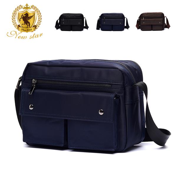 側背包 日系防水雙口袋雙層男包女包斜背包包 升級版 NEW STAR BL89