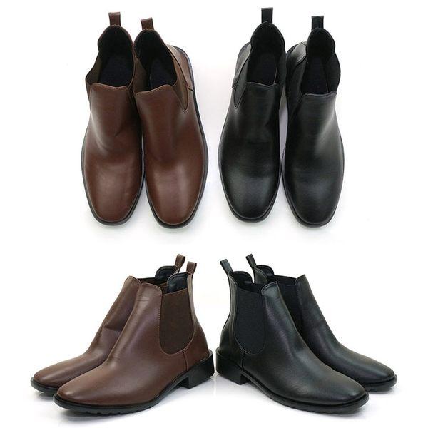 短靴.台灣製MIT.側U彈性帶短靴.黑/咖啡.版型偏小【鞋鞋俱樂部】【028-6190】