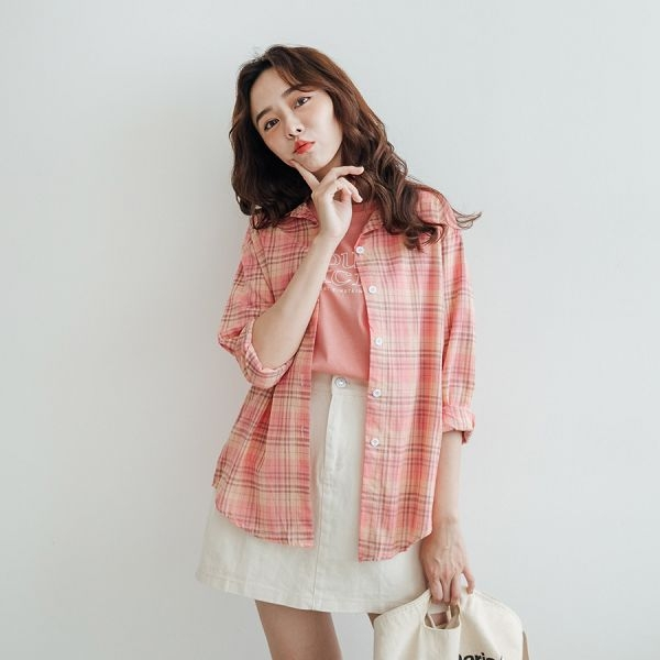 MIUSTAR 超多色!多款防曬棉麻格子襯衫(共11色)【NH1950】預購