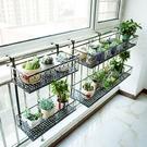 雙層陽台欄桿花架置物架花盆架室內懸掛裝飾鐵藝掛式花架子多層肉 亞斯藍