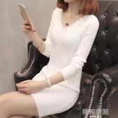 秋冬季新款韓版女裝針織衫女套頭v領中長款修身打底衫毛衣洋裝 韓語空間