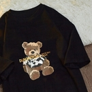 加大尺碼上衣T恤女2131#M-5XL大碼女裝夏裝小熊印花圓領短袖T恤H500依佳衣