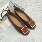 春季新款淺口單鞋女平底小碼33方扣舒適平跟奶奶鞋大碼女鞋41-43禮物限時八九折