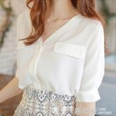 2019春季新款白色雪紡襯衫女chic寬鬆上衣春裝洋氣襯衣很仙設計感『鹿角巷』