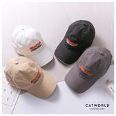 Catworld 美式撞色文字刺繡棒球帽【18003541】‧F