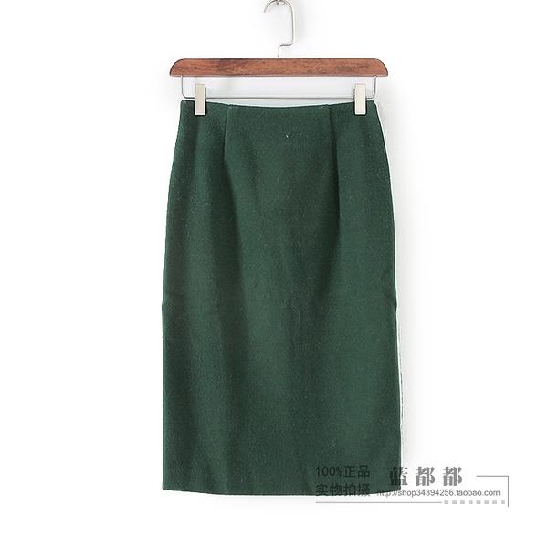 [超豐國際]紫冬裝女裝軍綠色中長款復古修身時尚中裙 2916(1入)