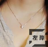 s925純銀單鉆項鏈女韓版時尚氣質閃鉆鎖骨鏈【左岸男裝】