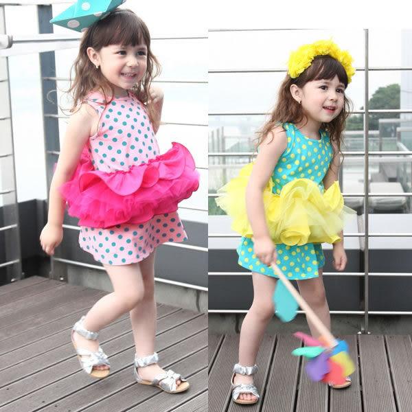 夏季 韓版   熱賣美麗仙子圓點蛋糕裙  (80-110CM)  【Q-079】  ☆瑋娗童裝婦幼館☆