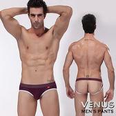 情趣用品 男用三角內褲  VENUS 雙丁字褲 露屁屁 U凸大囊袋呼吸透氣孔吸汗 三角褲 紫