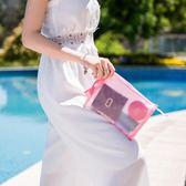 《WEEKEIGHT》簡約時尚多功能半透明防水PVC手提化妝包/盥洗包/收納包
