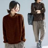 純色高領T恤女秋冬新寬鬆顯瘦慵懶風加厚上衣純色格紋長袖打底衫 折扣好價