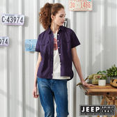【JEEP】女裝滿版小花襯衫-紫色