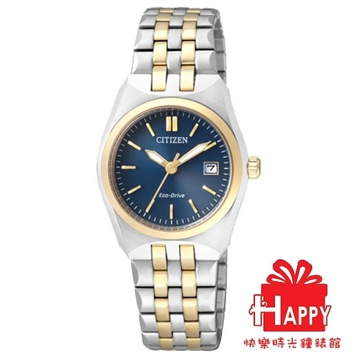 EW2294-61L藍x半金 CITIZEN星辰Eco-Drive簡約光動能腕錶