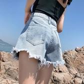 MG 快速出貨!牛仔短褲女(色)新款高腰寬鬆百搭寬褲子學生流蘇毛邊熱褲SX