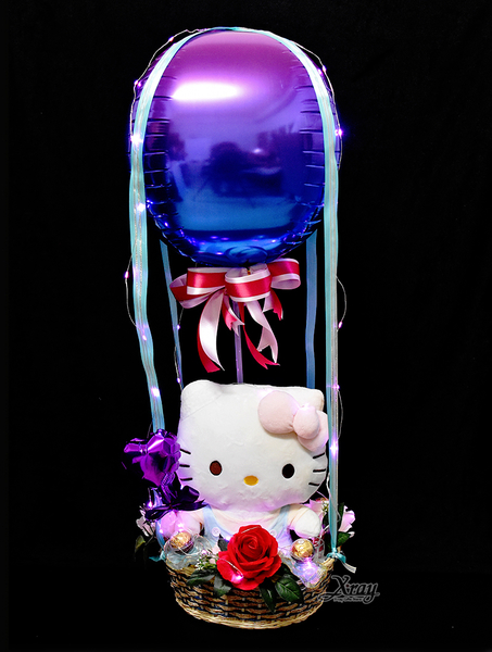 Hello Kitty學習娃娃幸福熱氣球,Sanrio/情人節禮物/熱氣球/金莎花束/亮燈花束,節慶王【Y526905】