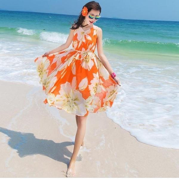 沙灘裙女矮個子泰國三亞碎花雪紡超仙顯瘦海邊度假波西米亞洋裝連 快速出貨