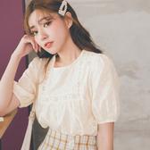 MUMU【T99508】公主袖蕾絲雪紡上衣。杏/白