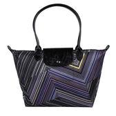 Longchamp OP ART幾何風格錯視條紋長提把手提水餃包-小(紫晶色)480537-958
