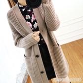 新款秋冬羊毛開衫女中長款V領毛衣寬鬆顯瘦加厚羊絨針織外套