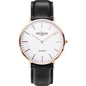 【VALENTINO 范倫鐵諾】經典皮革手錶-40mm 71418M白面玫瑰金黑帶