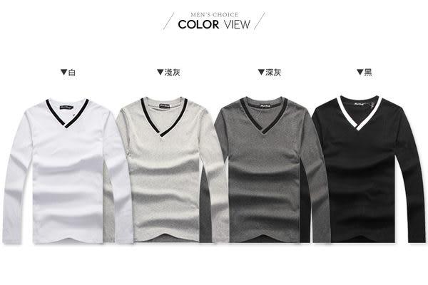韓式學院風V領滾邊素面長袖T恤【NC9270】