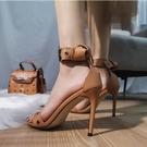 防水臺高跟鞋2021夏季新款網紅時尚羅馬一字帶涼鞋細跟性感女鞋子 夜店舞臺表演高跟鞋
