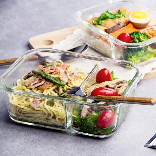 耐熱玻璃保鮮盒分隔微波爐飯盒密封收納分格便當盒 智聯igo