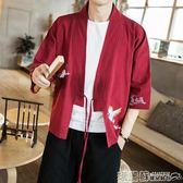 和服 風仙鶴外套七分袖男唐裝日系日式和風開衫道袍和服亞麻寬鬆夏   瑪麗蘇