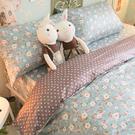 藍色小碎花 雙人加大床包與雙人新式兩用被五件組 100%精梳棉 台灣製