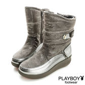 PLAYBOY 小亮點 內刷毛 舒適中筒靴-鎳