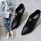 2021秋冬新款黑色深口高跟短靴女韓版百搭水鉆細跟尖頭單鞋女 伊蘿 618狂歡