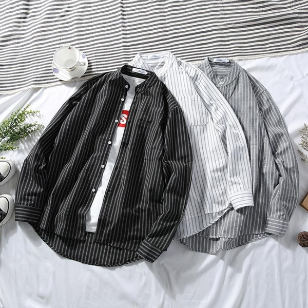 清倉特銷 港仔文藝男秋季chic韓版豎條紋襯衫學生長袖港風襯衣 灰色
