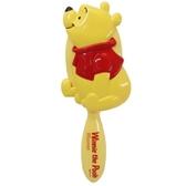 小禮堂 迪士尼 小熊維尼 造型塑膠手握梳 直梳 塑膠梳 (黃 側坐) 4548387-15718