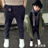 男童牛仔褲加絨大碼秋冬季 新款韓版潮兒童褲子加厚長褲童裝寬鬆 qf12175【黑色妹妹】