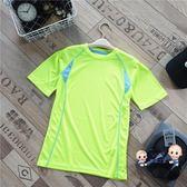 排汗衣 運動童裝 夏裝新款男中大童戶外運動短袖T恤夏季排汗速幹運動上衣 3色