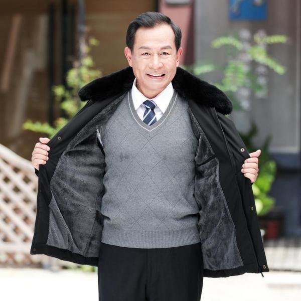 中老年人棉衣男加絨加厚爸爸冬裝外套中年男士羽絨棉服襖老爸爺爺 深藏blue