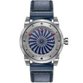 【台南 時代鐘錶 ZINVO】BLADE MARINE 前衛設計強烈風格手錶 機械錶 皮帶 銀/藍 44mm 公司貨保固兩年