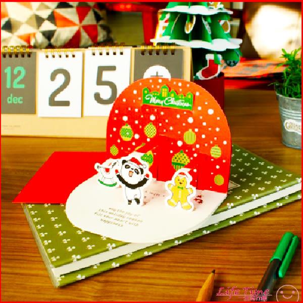《人緣王必備》聖誕賀卡 聖誕節立體卡片 可愛動物 DIY 10入一組 J03002